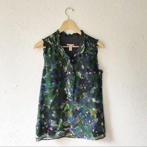 J. Crew • 100% Silk Floral Blouse